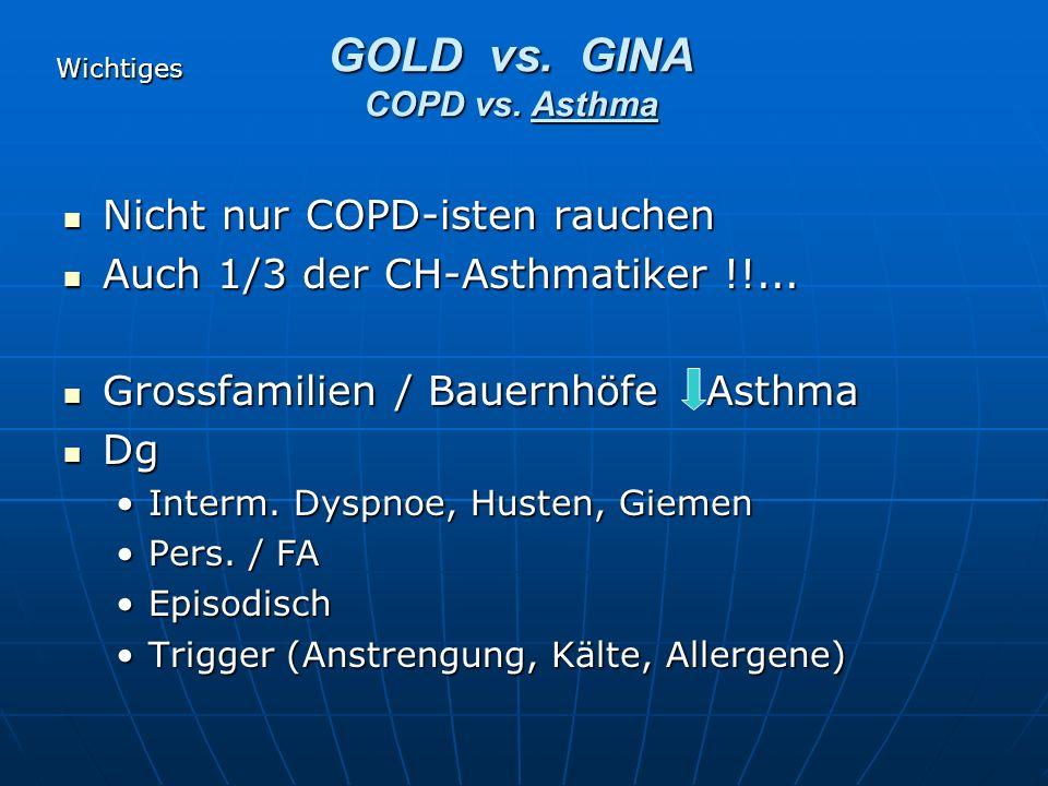 Nicht nur COPD-isten rauchen Nicht nur COPD-isten rauchen Auch 1/3 der CH-Asthmatiker !!... Auch 1/3 der CH-Asthmatiker !!... Grossfamilien / Bauernhö