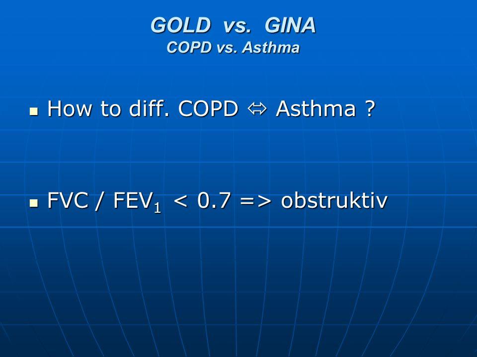 How to diff. COPD Asthma ? How to diff. COPD Asthma ? FVC / FEV 1 obstruktiv FVC / FEV 1 obstruktiv GOLD vs. GINA COPD vs. Asthma