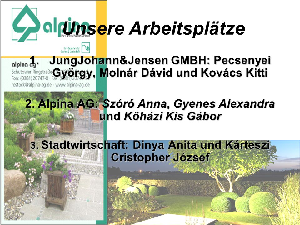 Unsere Arbeitsplätze 1.JungJohann&Jensen GMBH: Pecsenyei György, Molnár Dávid und Kovács Kitti 2.