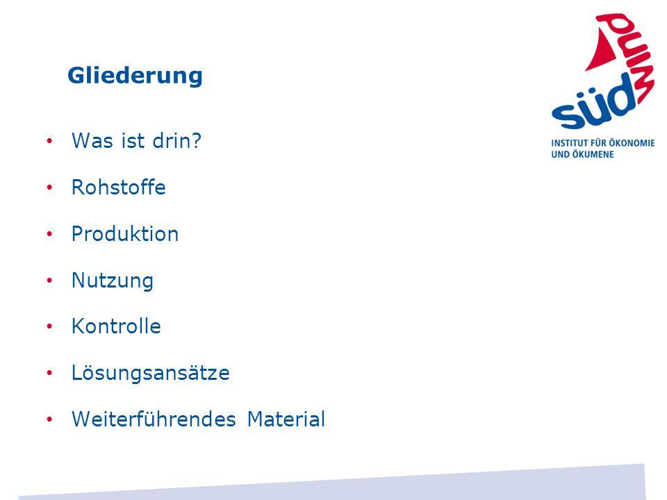 Lösungsansätze Recyclingmöglichkeiten für Handynutzer Wirkaufens: http://www.wirkaufens.de/gglsem_refid16?wkrefid=16 http://www.wirkaufens.de/gglsem_refid16?wkrefid=16 WWF und O2: http://www.o2online.de/hilfe/handys/handyrecycling/ http://www.o2online.de/hilfe/handys/handyrecycling/ Zonzoo: http://www.zonzoo.de/?utm_source=googleadward&utm_ca mpaign=google&gclid=CJXbnPWC77MCFUmN3godhCAAnA http://www.zonzoo.de/?utm_source=googleadward&utm_ca mpaign=google&gclid=CJXbnPWC77MCFUmN3godhCAAnA