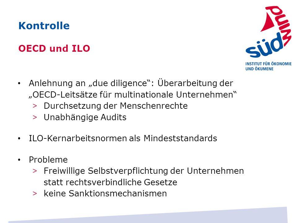 Anlehnung an due diligence: Überarbeitung der OECD-Leitsätze für multinationale Unternehmen > Durchsetzung der Menschenrechte > Unabhängige Audits ILO