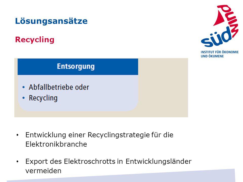 Entwicklung einer Recyclingstrategie für die Elektronikbranche Export des Elektroschrotts in Entwicklungsländer vermeiden Lösungsansätze Recycling