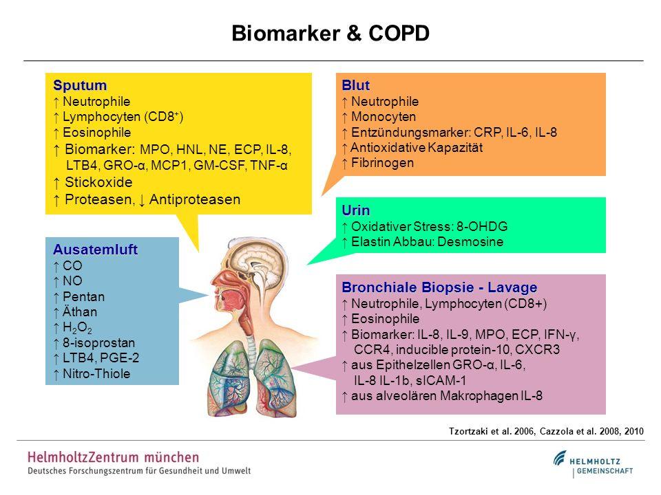 Ausatemluft CO NO Pentan Äthan H 2 O 2 8-isoprostan LTB4, PGE-2 Nitro-Thiole Biomarker & COPD Tzortzaki et al. 2006, Cazzola et al. 2008, 2010 Sputum