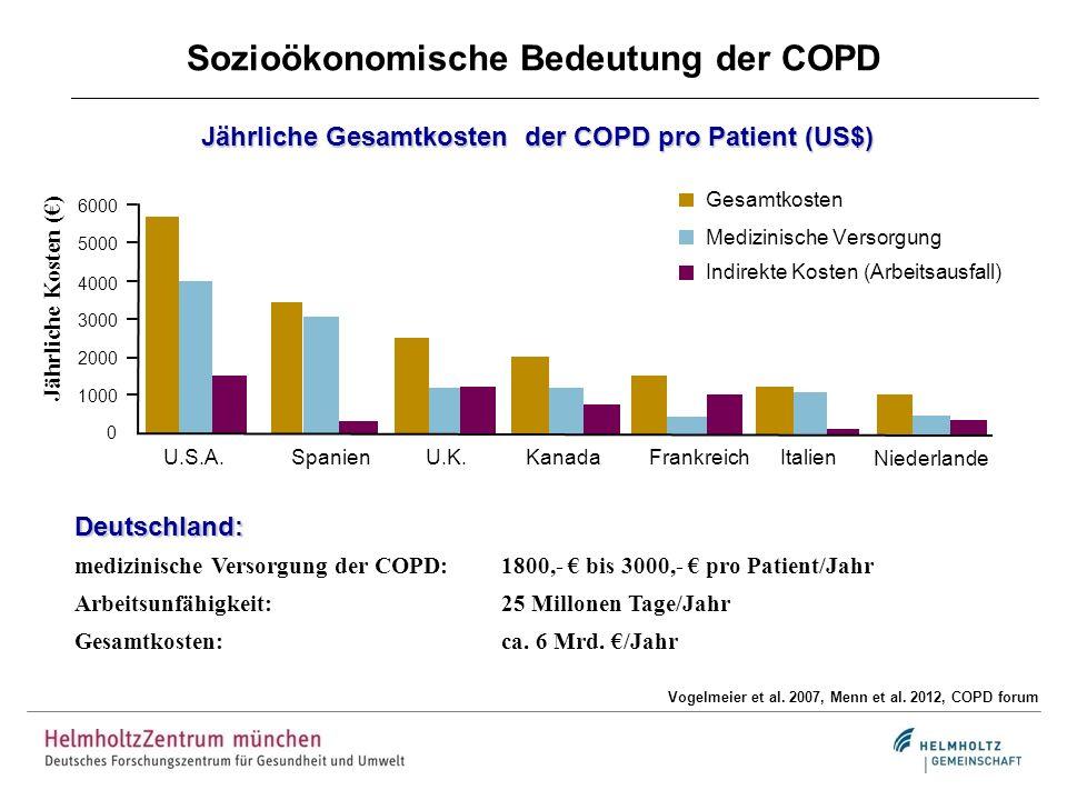 Sozioökonomische Bedeutung der COPD Vogelmeier et al. 2007, Menn et al. 2012, COPD forum Gesamtkosten Medizinische Versorgung Indirekte Kosten (Arbeit