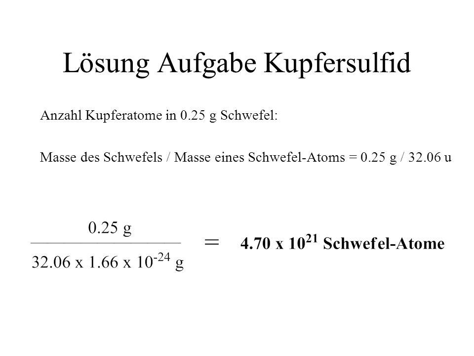 Lösung Aufgabe Kupfersulfid Anzahl Kupferatome in 0.25 g Schwefel: Masse des Schwefels / Masse eines Schwefel-Atoms = 0.25 g / 32.06 u