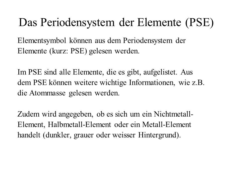 Das Periodensystem der Elemente (PSE) Elementsymbol können aus dem Periodensystem der Elemente (kurz: PSE) gelesen werden. Im PSE sind alle Elemente,