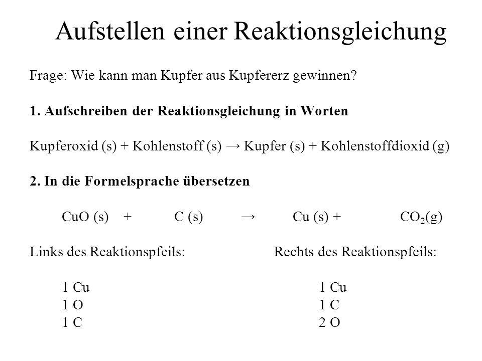 Aufstellen einer Reaktionsgleichung Frage: Wie kann man Kupfer aus Kupfererz gewinnen? 1. Aufschreiben der Reaktionsgleichung in Worten Kupferoxid (s)
