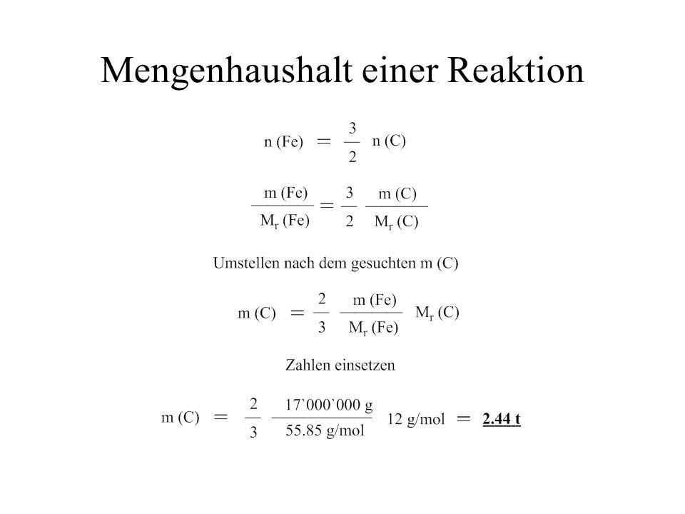 Mengenhaushalt einer Reaktion