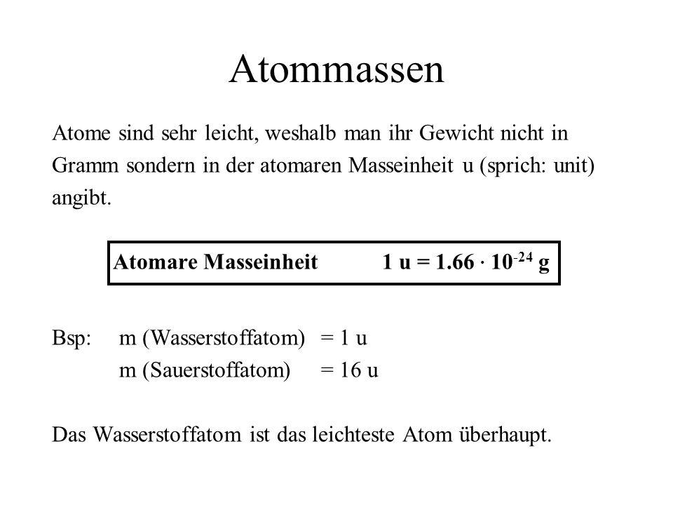 Atommassen Atome sind sehr leicht, weshalb man ihr Gewicht nicht in Gramm sondern in der atomaren Masseinheit u (sprich: unit) angibt. Atomare Massein
