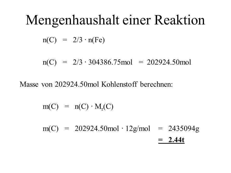 Mengenhaushalt einer Reaktion n(C) = 2/3 · n(Fe) n(C) = 2/3 · 304386.75mol = 202924.50mol Masse von 202924.50mol Kohlenstoff berechnen: m(C) = n(C) ·