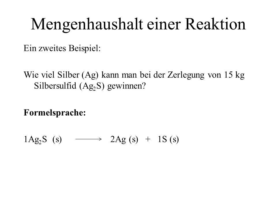 Mengenhaushalt einer Reaktion Ein zweites Beispiel: Wie viel Silber (Ag) kann man bei der Zerlegung von 15 kg Silbersulfid (Ag 2 S) gewinnen? Formelsp