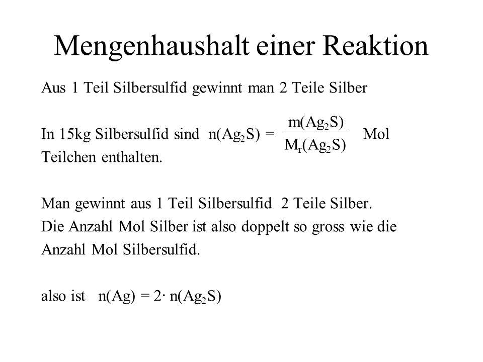 Mengenhaushalt einer Reaktion Aus 1 Teil Silbersulfid gewinnt man 2 Teile Silber In 15kg Silbersulfid sind n(Ag 2 S) = Mol Teilchen enthalten. Man gew