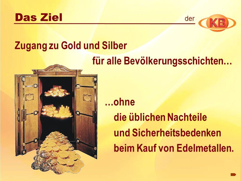 Zugang zu Gold und Silber für alle Bevölkerungsschichten… …ohne die üblichen Nachteile und Sicherheitsbedenken beim Kauf von Edelmetallen. Das Ziel de