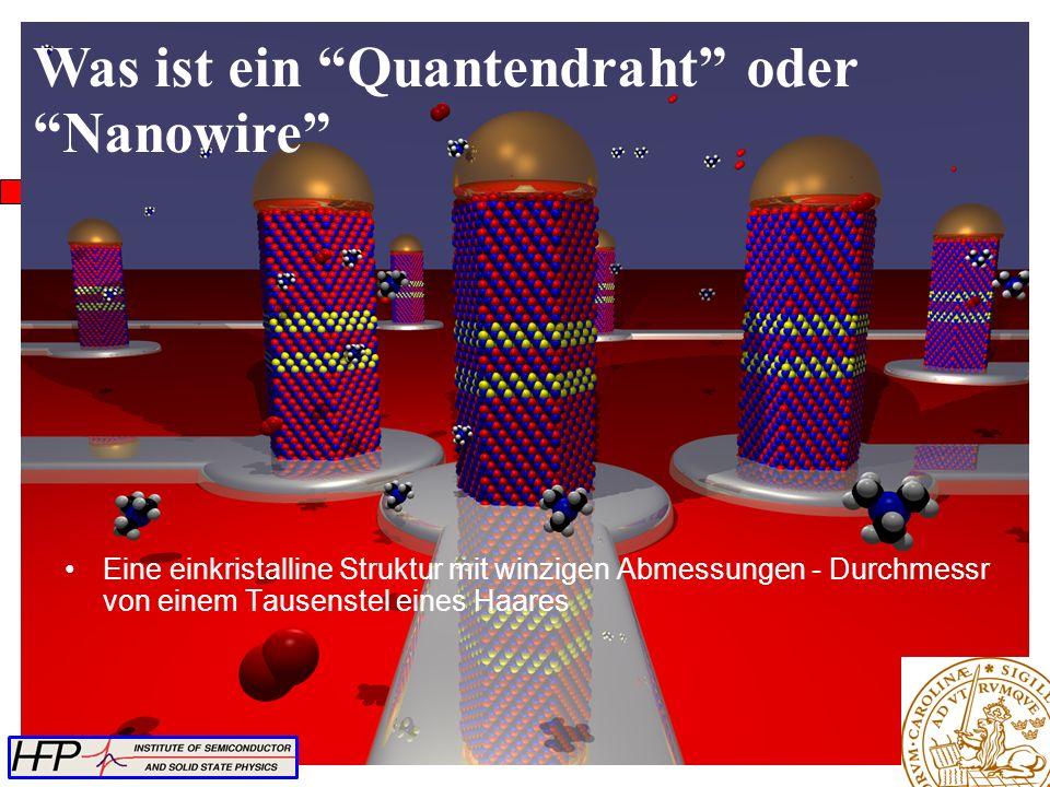 Eine einkristalline Struktur mit winzigen Abmessungen - Durchmessr von einem Tausenstel eines Haares Was ist ein Quantendraht oder Nanowire