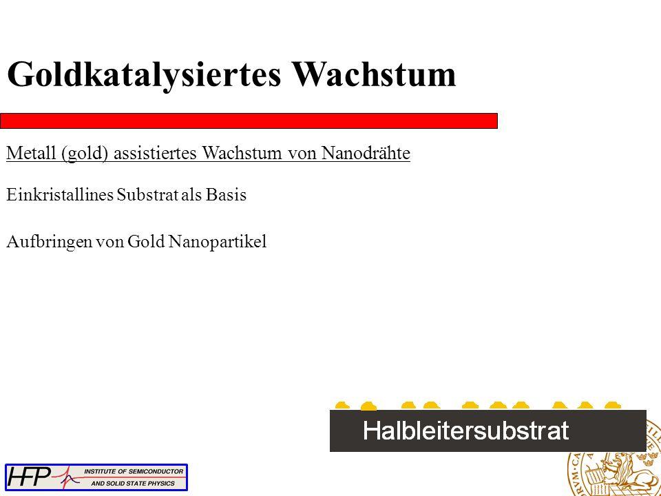 Aufbringen von Gold Nanopartikel Goldkatalysiertes Wachstum Metall (gold) assistiertes Wachstum von Nanodrähte