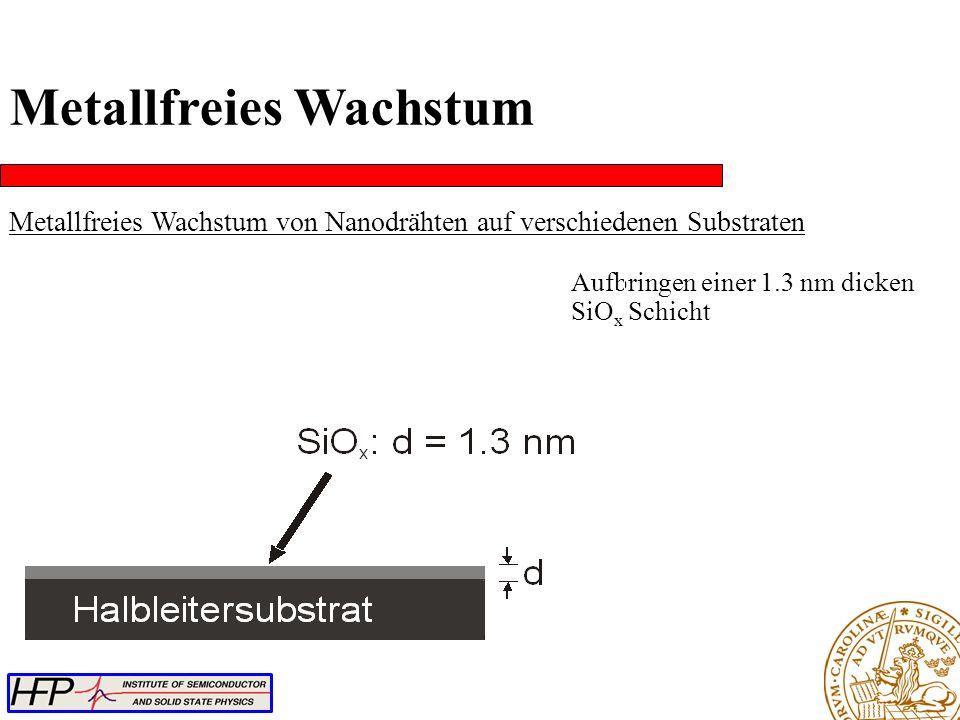 Metallfreies Wachstum Metallfreies Wachstum von Nanodrähten auf verschiedenen Substraten Aufbringen einer 1.3 nm dicken SiO x Schicht