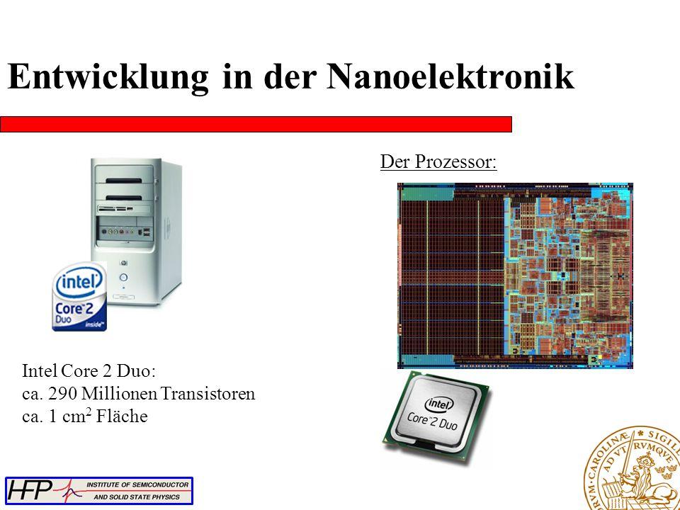 Intel Core 2 Duo: ca. 290 Millionen Transistoren ca. 1 cm 2 Fläche Der Prozessor: Entwicklung in der Nanoelektronik