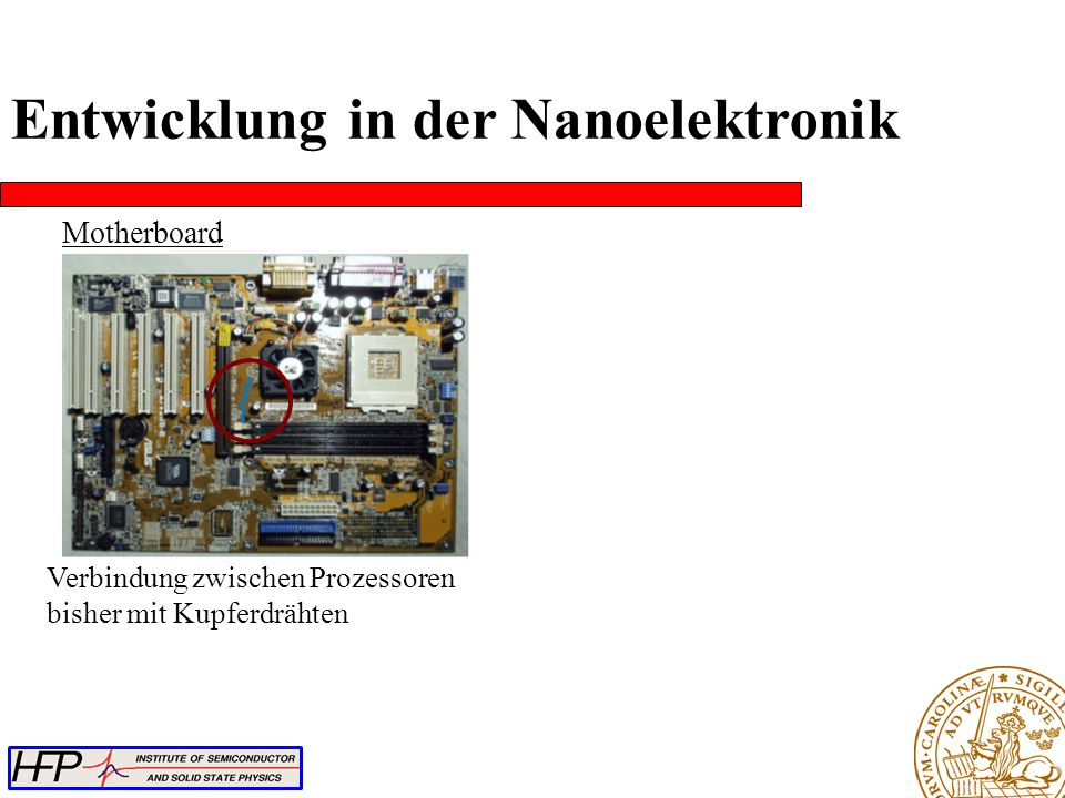 Motherboard Verbindung zwischen Prozessoren bisher mit Kupferdrähten Entwicklung in der Nanoelektronik