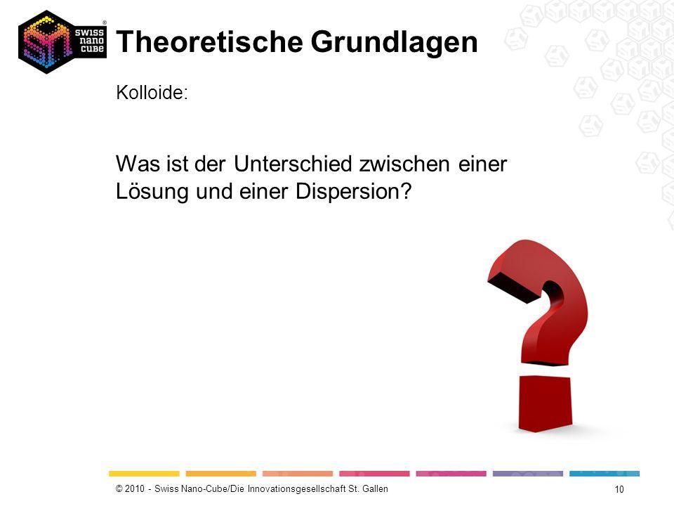 © 2010 - Swiss Nano-Cube/Die Innovationsgesellschaft St. Gallen Theoretische Grundlagen 10 Kolloide: Was ist der Unterschied zwischen einer Lösung und