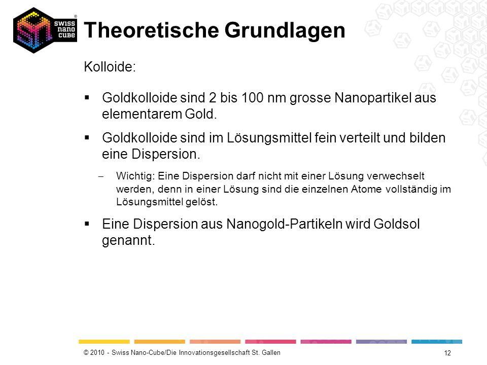 © 2010 - Swiss Nano-Cube/Die Innovationsgesellschaft St. Gallen Theoretische Grundlagen 12 Kolloide: Goldkolloide sind 2 bis 100 nm grosse Nanopartike
