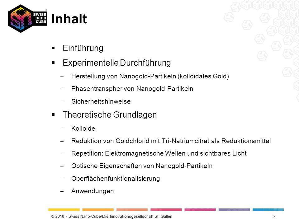 © 2010 - Swiss Nano-Cube/Die Innovationsgesellschaft St. Gallen Inhalt Einführung Experimentelle Durchführung Herstellung von Nanogold-Partikeln (koll