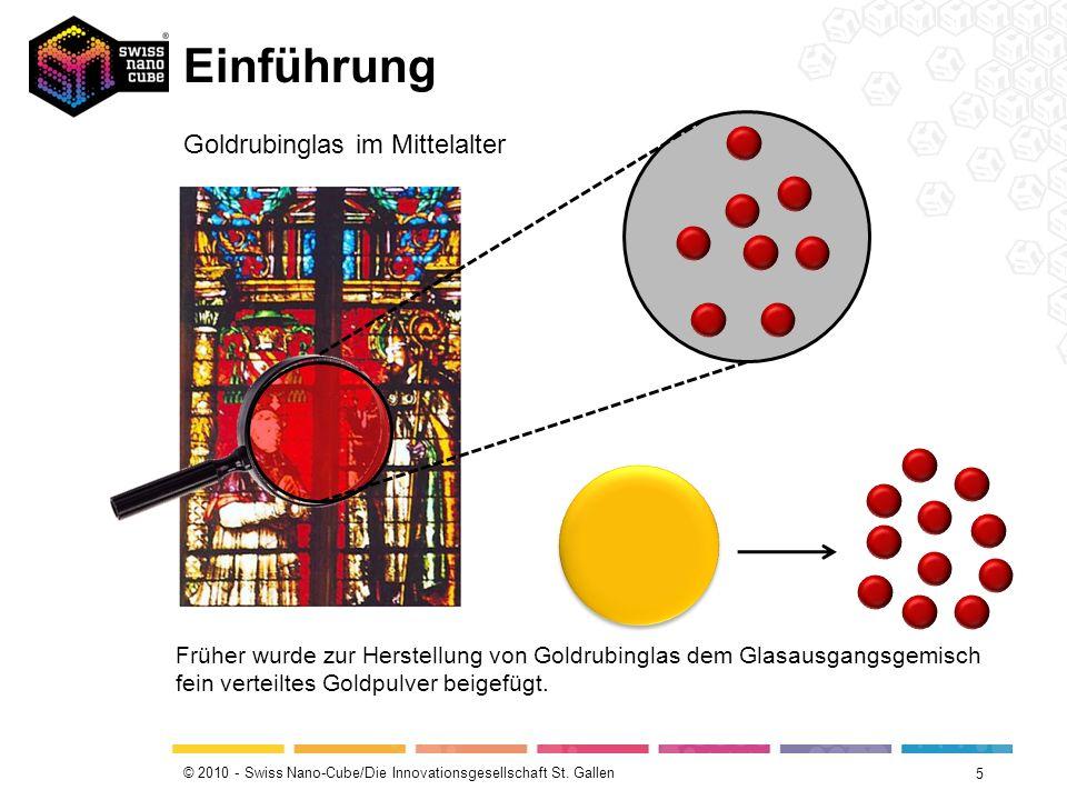 © 2010 - Swiss Nano-Cube/Die Innovationsgesellschaft St. Gallen Einführung 5 Goldrubinglas im Mittelalter Früher wurde zur Herstellung von Goldrubingl