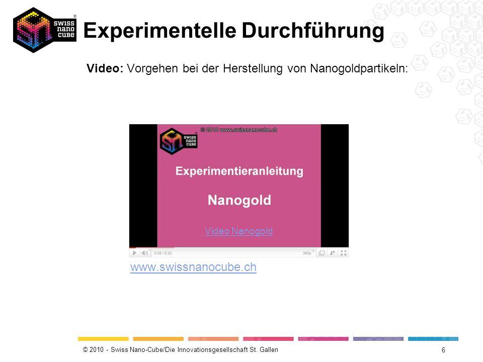 © 2010 - Swiss Nano-Cube/Die Innovationsgesellschaft St. Gallen Experimentelle Durchführung 6 Video: Vorgehen bei der Herstellung von Nanogoldpartikel