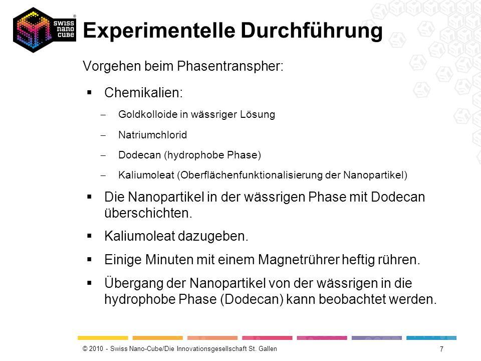 © 2010 - Swiss Nano-Cube/Die Innovationsgesellschaft St. Gallen Experimentelle Durchführung 7 Vorgehen beim Phasentranspher: Chemikalien: Goldkolloide