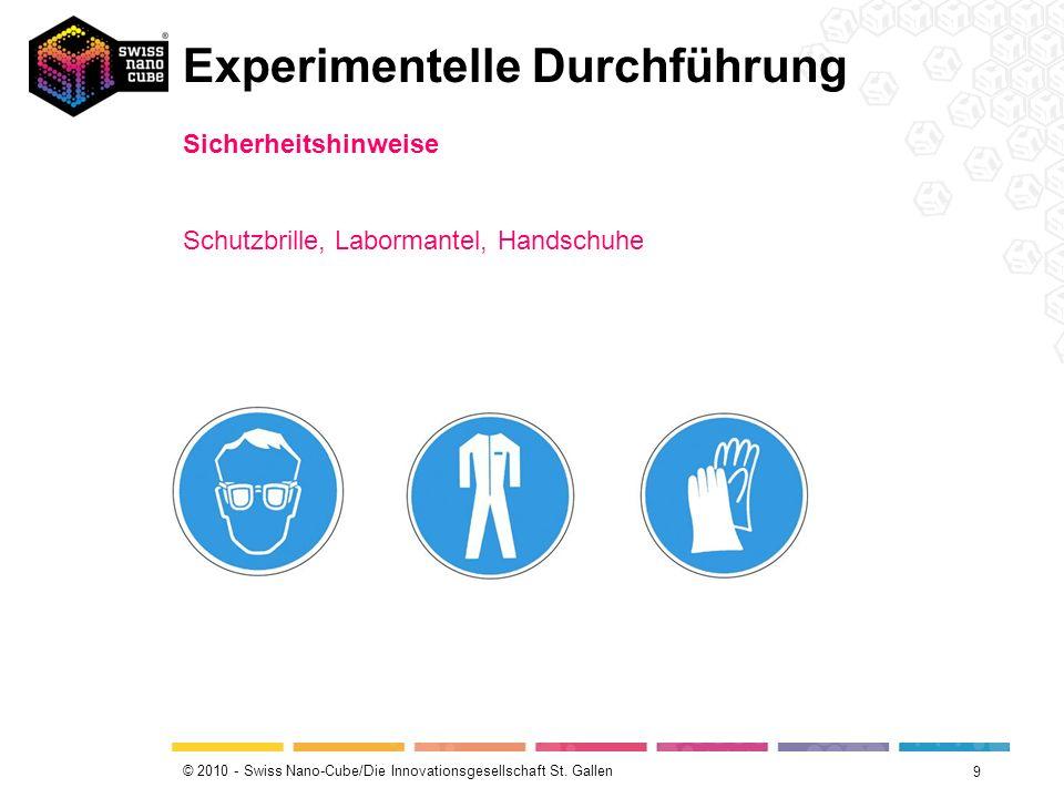 © 2010 - Swiss Nano-Cube/Die Innovationsgesellschaft St. Gallen Experimentelle Durchführung 9 Sicherheitshinweise Schutzbrille, Labormantel, Handschuh