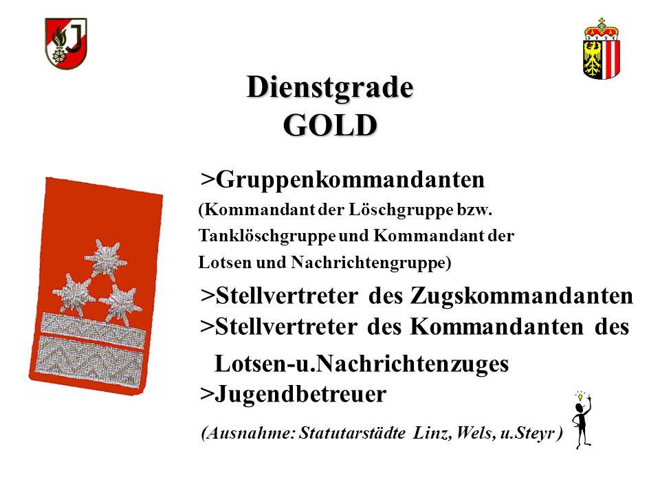 Dienstgrade GOLD >Gruppenkommandanten (Kommandant der Löschgruppe bzw.