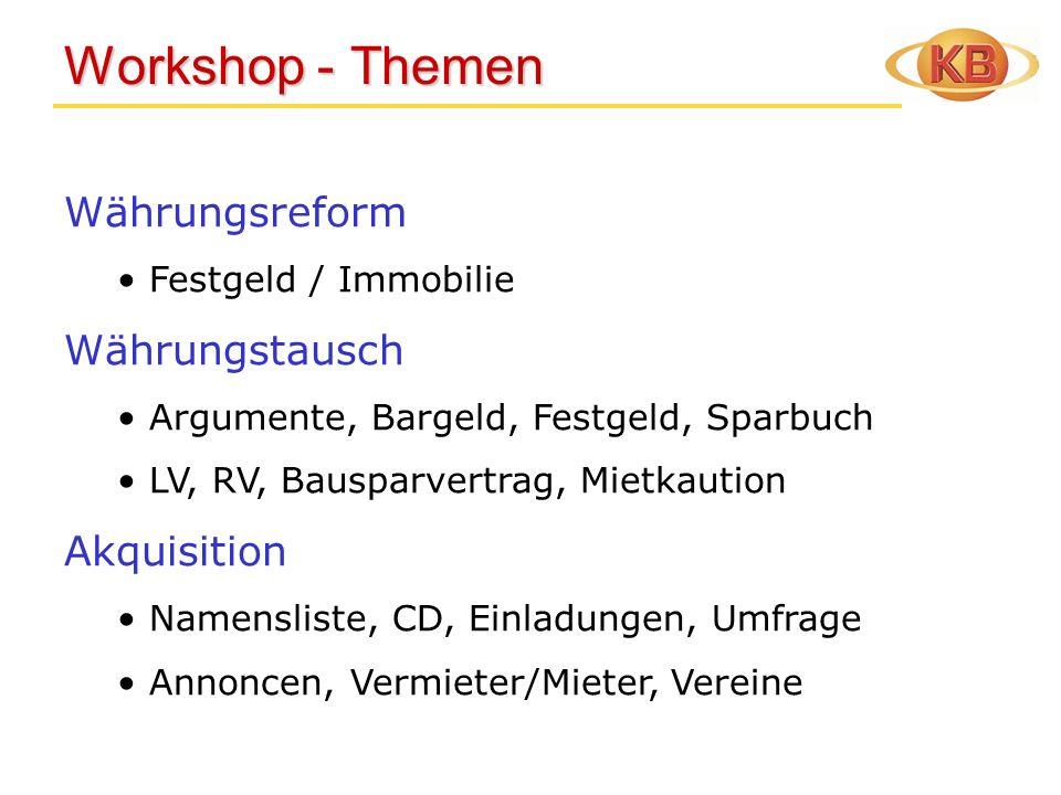 Workshop - Themen Workshop - Themen Währungsreform Festgeld / Immobilie Währungstausch Argumente, Bargeld, Festgeld, Sparbuch LV, RV, Bausparvertrag,