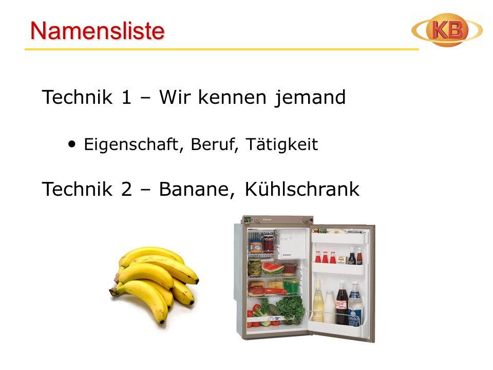 Namensliste Namensliste Technik 1 – Wir kennen jemand Eigenschaft, Beruf, Tätigkeit Technik 2 – Banane, Kühlschrank