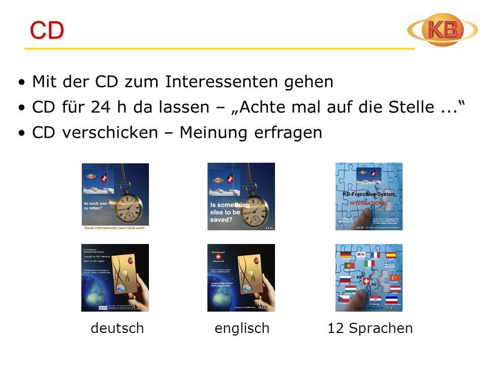 CD CD Mit der CD zum Interessenten gehen CD für 24 h da lassen – Achte mal auf die Stelle... CD verschicken – Meinung erfragen deutsch englisch 12 Spr