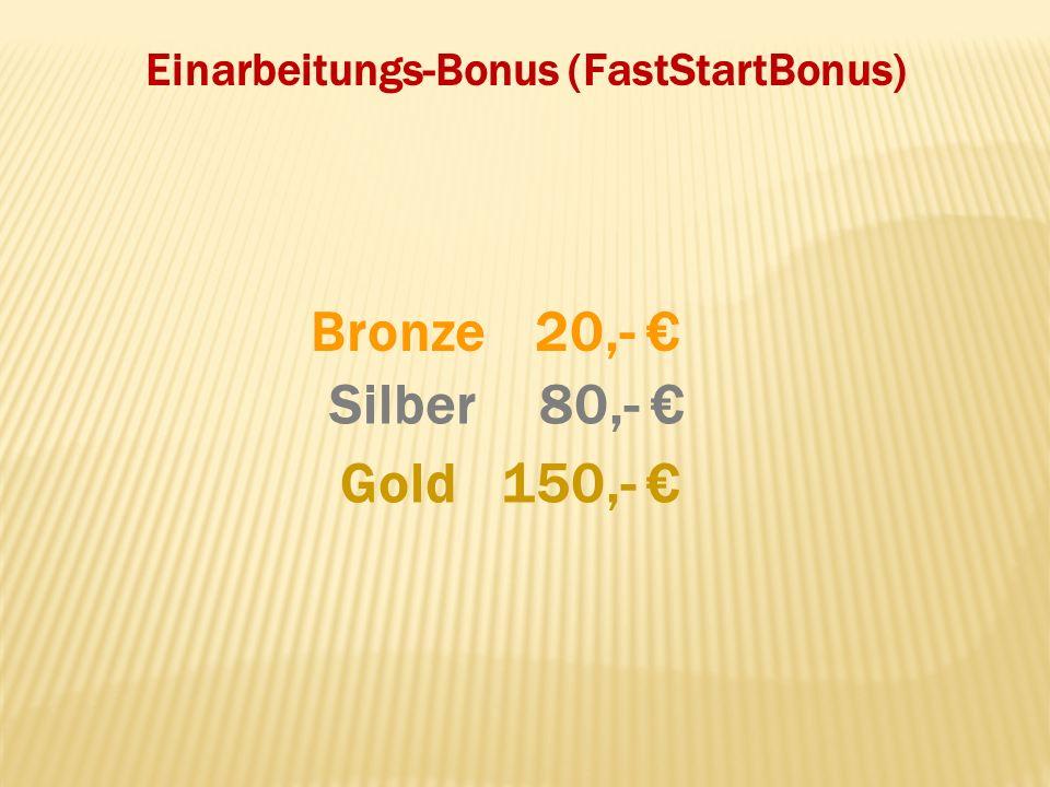 Einarbeitungs-Bonus (FastStartBonus) Gold Silber Bronze20,- 80,- 150,-