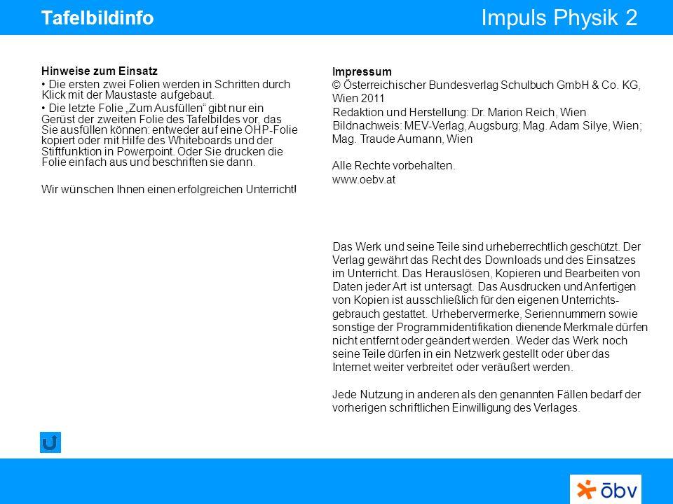 © Österreichischer Bundesverlag Schulbuch GmbH & Co KG | www.oebv.at Impuls Physik 2 Tafelbildinfo Hinweise zum Einsatz Die ersten zwei Folien werden