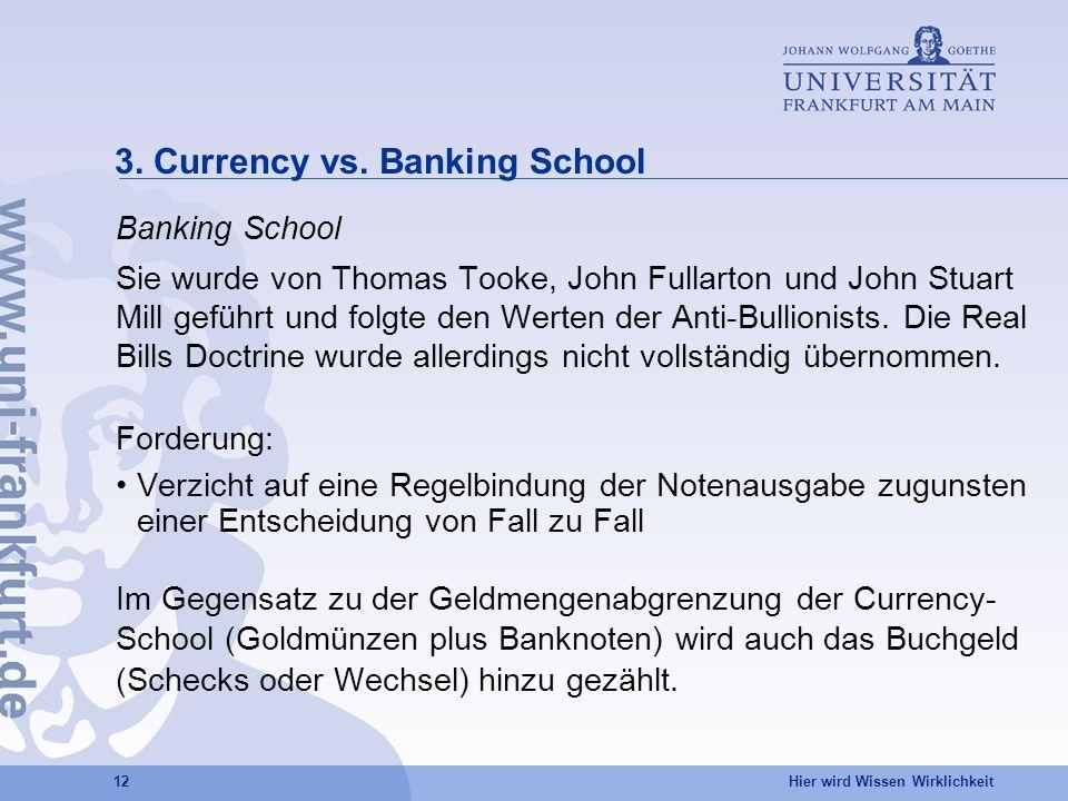 Hier wird Wissen Wirklichkeit 12 3. Currency vs. Banking School Banking School Sie wurde von Thomas Tooke, John Fullarton und John Stuart Mill geführt