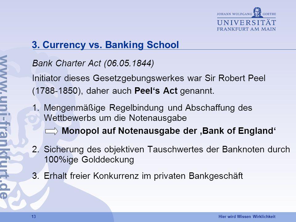Hier wird Wissen Wirklichkeit 13 3. Currency vs. Banking School Bank Charter Act (06.05.1844) Initiator dieses Gesetzgebungswerkes war Sir Robert Peel