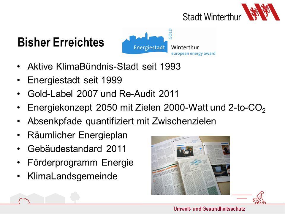 Umwelt- und Gesundheitsschutz Bisher Erreichtes Aktive KlimaBündnis-Stadt seit 1993 Energiestadt seit 1999 Gold-Label 2007 und Re-Audit 2011 Energieko