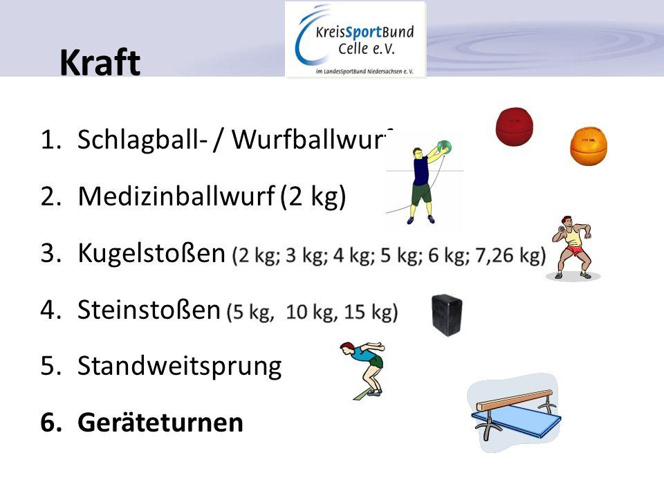 Schnelligkeit 1.30 m / 50 m / 100 m Lauf 2.25 m Schwimmen 3.200 m Radfahren 4.Geräteturnen Sprunghocke als Stützsprung6 -770 u.
