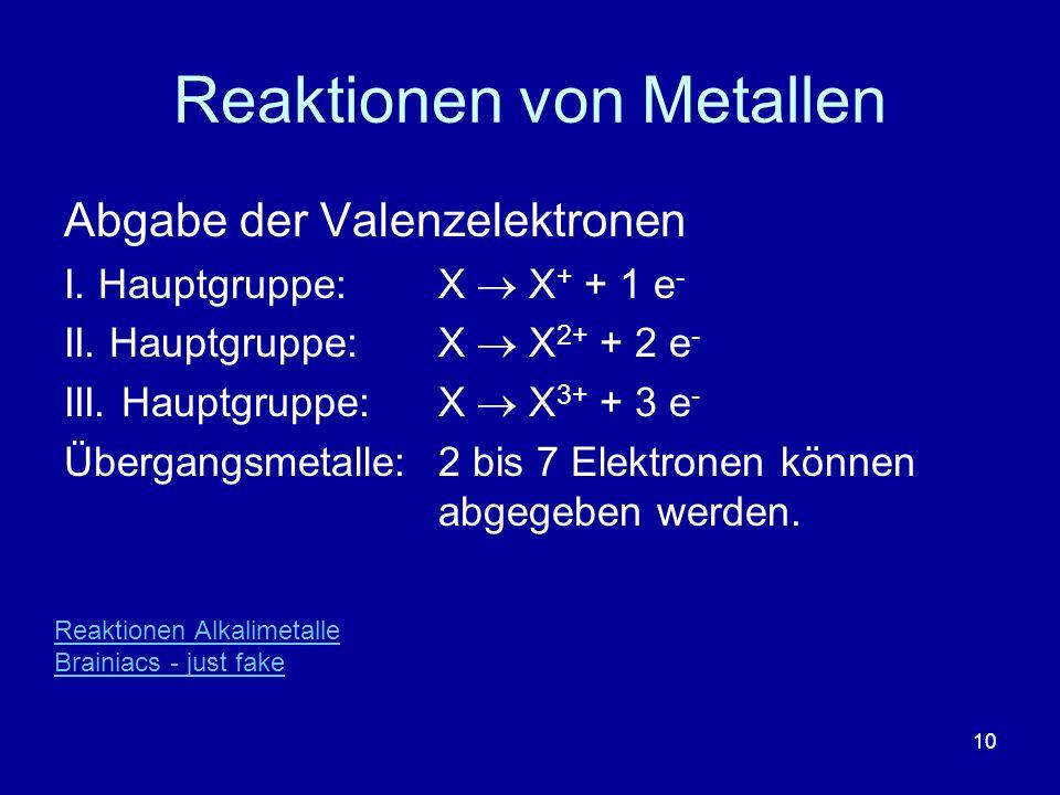10 Reaktionen von Metallen Abgabe der Valenzelektronen I. Hauptgruppe: X X + + 1 e - II. Hauptgruppe: X X 2+ + 2 e - III. Hauptgruppe: X X 3+ + 3 e -