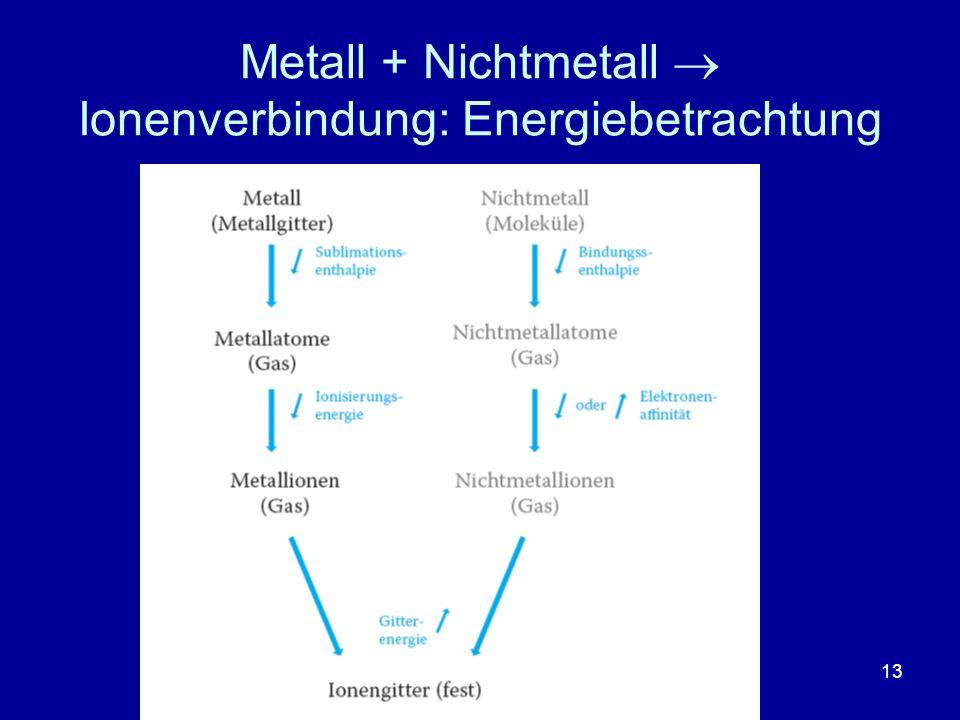 13 Metall + Nichtmetall Ionenverbindung: Energiebetrachtung