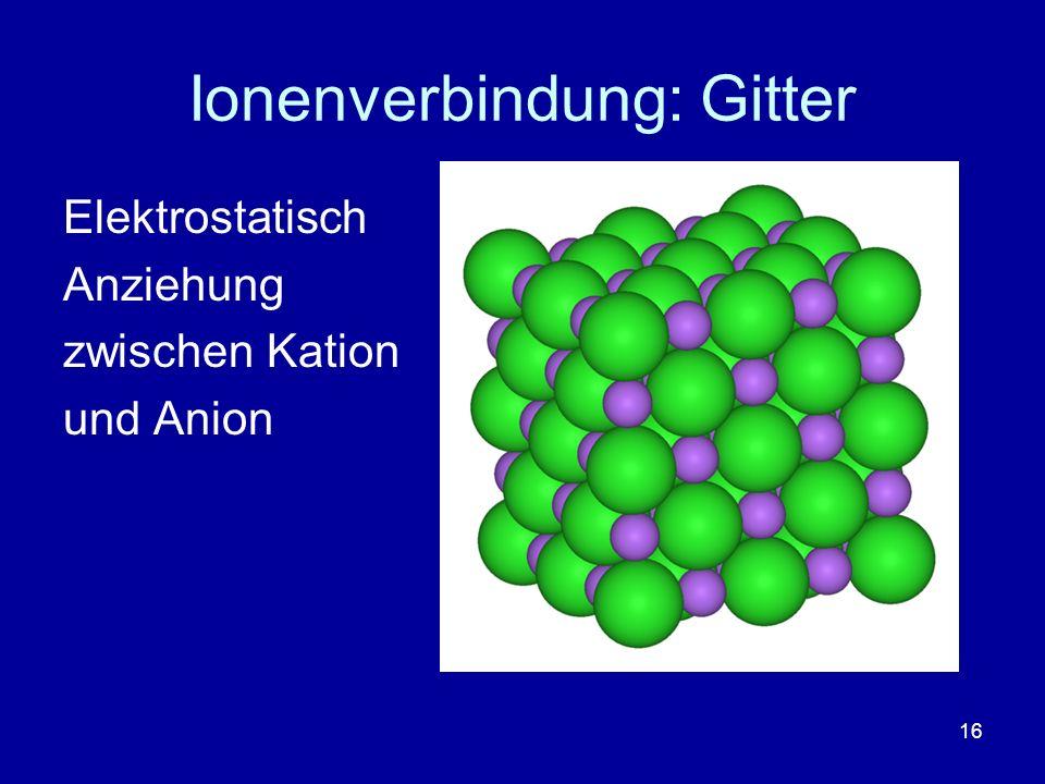 16 Ionenverbindung: Gitter Elektrostatisch Anziehung zwischen Kation und Anion