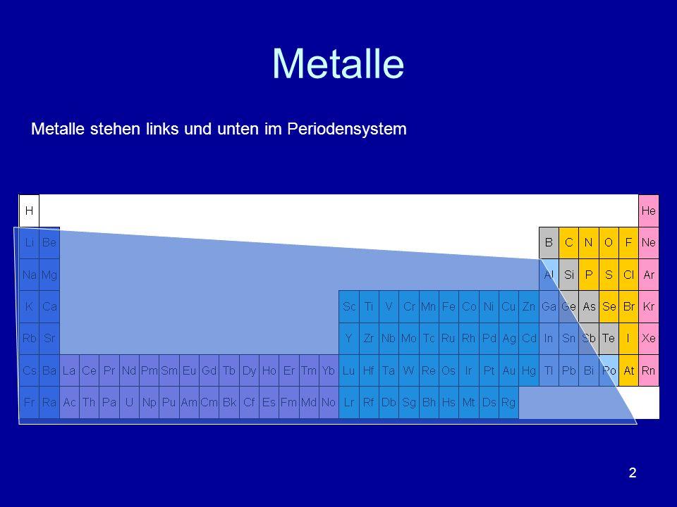 2 Metalle Metalle stehen links und unten im Periodensystem