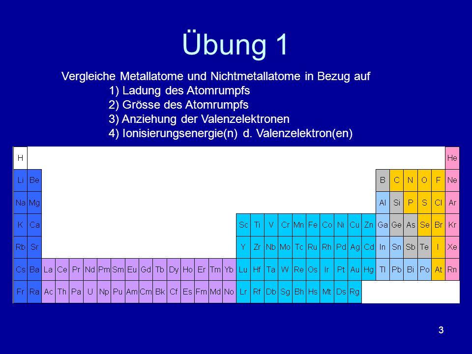 3 Übung 1 Vergleiche Metallatome und Nichtmetallatome in Bezug auf 1) Ladung des Atomrumpfs 2) Grösse des Atomrumpfs 3) Anziehung der Valenzelektronen