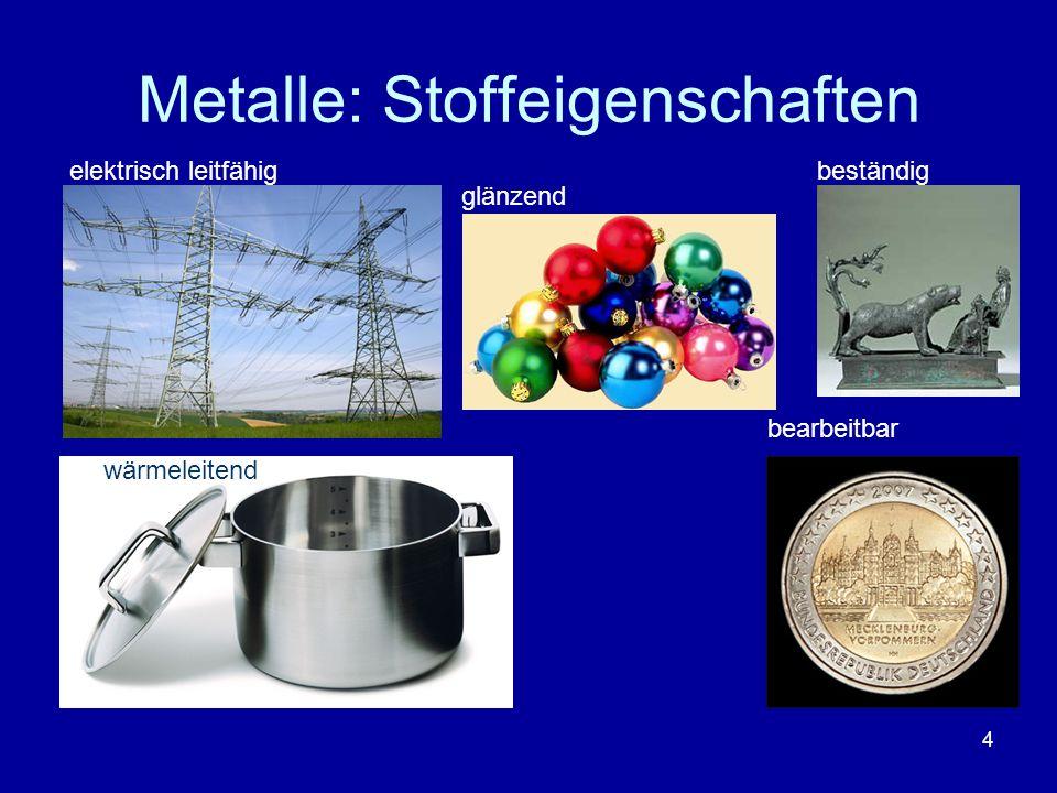 4 Metalle: Stoffeigenschaften elektrisch leitfähig wärmeleitend bearbeitbar beständig glänzend