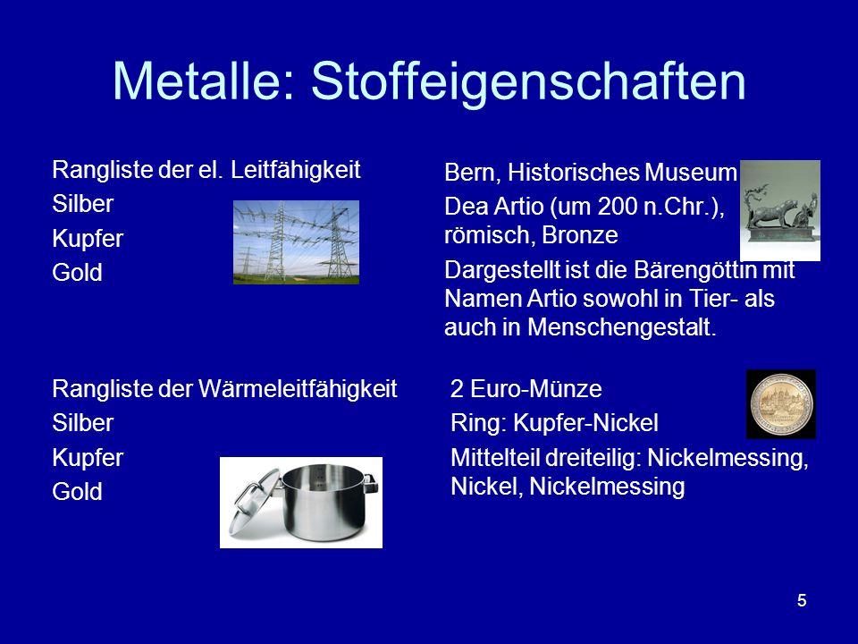 5 Metalle: Stoffeigenschaften Rangliste der el. Leitfähigkeit Silber Kupfer Gold 2 Euro-Münze Ring: Kupfer-Nickel Mittelteil dreiteilig: Nickelmessing