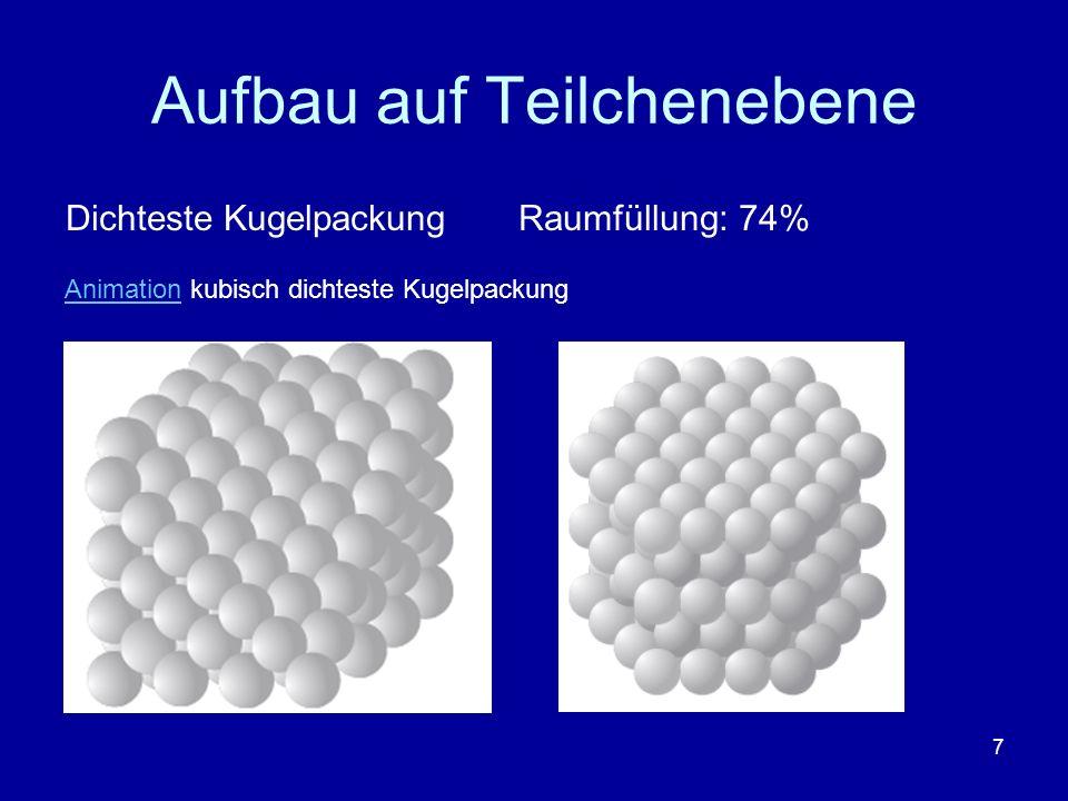 7 Aufbau auf Teilchenebene Dichteste Kugelpackung Raumfüllung: 74% AnimationAnimation kubisch dichteste Kugelpackung