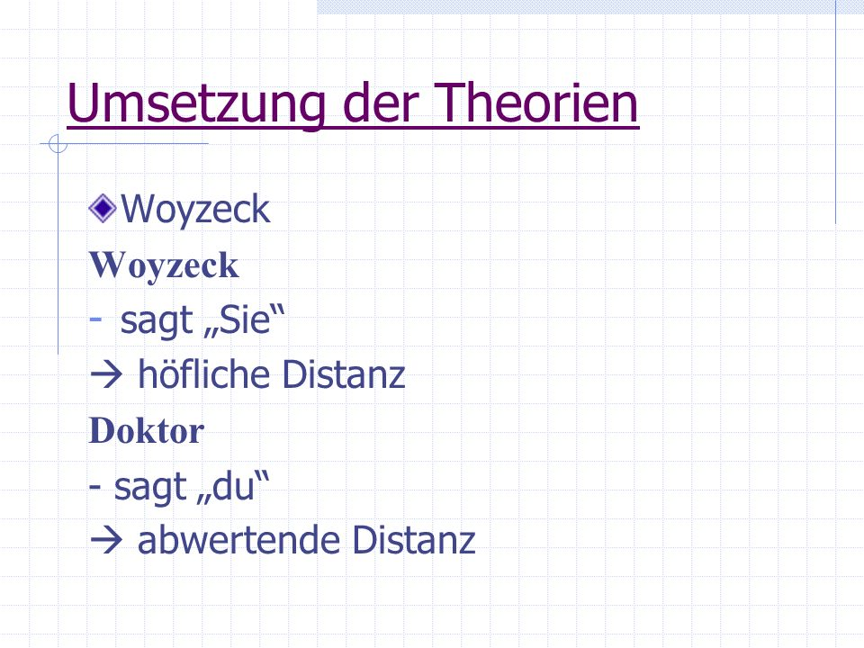 Umsetzung der Theorien Woyzeck - sagt Sie höfliche Distanz Doktor - sagt du abwertende Distanz