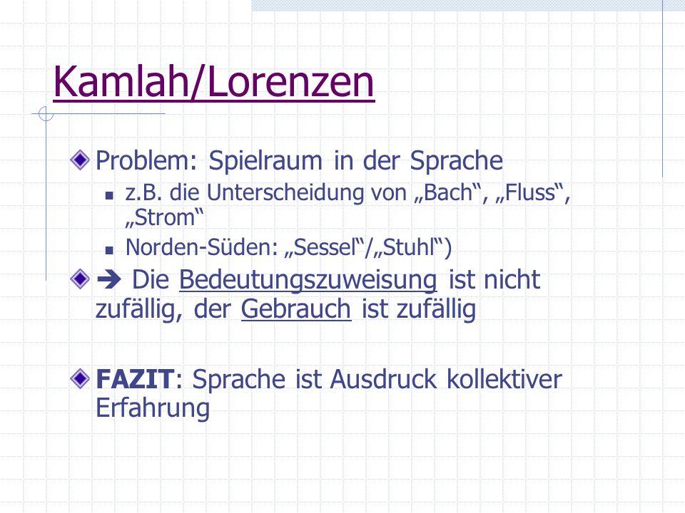 Kamlah/Lorenzen Problem: Spielraum in der Sprache z.B. die Unterscheidung von Bach, Fluss, Strom Norden-Süden: Sessel/Stuhl) Die Bedeutungszuweisung i