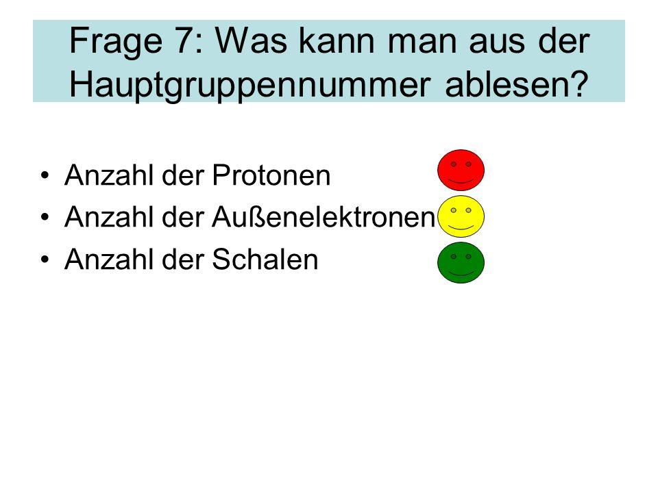 Frage 7: Was kann man aus der Hauptgruppennummer ablesen.